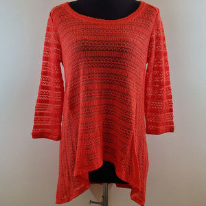 NWT NY&Co. Tomato Red Lace Asymmetrical Tunic Top